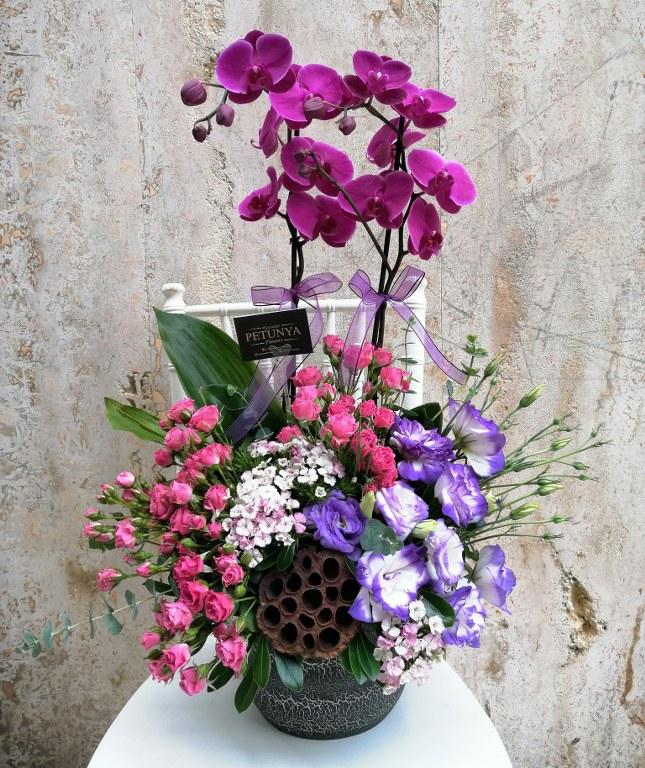 Mor orkideli aranjman