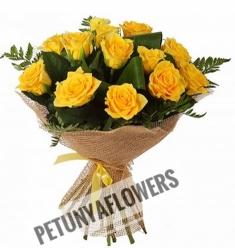 15 Sarı Gül Buketi